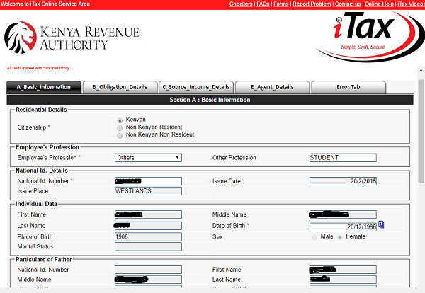 KRA-5 Kra Pin Sample Filled Application Form on