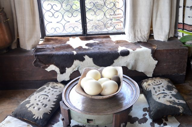 Cowhides, ostrich eggs and fabric used as ornaments