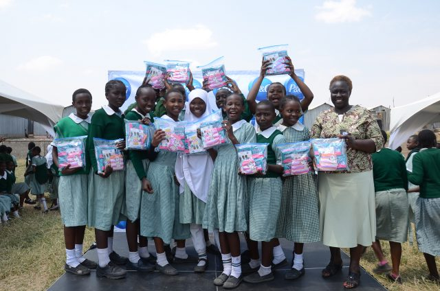 Image result for distributing sanitary pads to kenyan schools