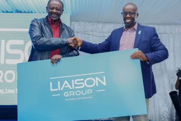Group Managing Director Liaison Group Mr. Tom Mulwa (right) and Chairman of Liaison Group Mr. Wachira Mahihu, unveil the new brand identity for Liaison Group