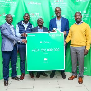 Charles Wanjohi Safaricom Director Consumer Business (second right), Wilson Mwangi (far left) Tecno Mobile Operation Manager, Mark Misumi Business Manager HMD Global Oy, Charles Kimari Samsung Head Department Internet and Mobile and David Warui Huawei Accounts Manager hold a dummy VoLTE Call, this launch was done at the I&M Shop.