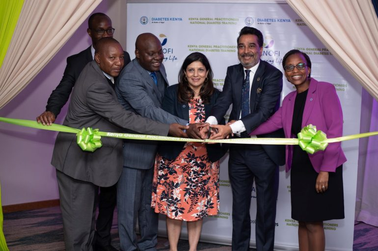 L-R Dr. Ephantus Maree, Head of NCD prevention & control unit MOH, Peter Munyasi Sanofi Chair & GM, Dr. Acharya Chairperson Diabetes Kenya Association, Dr. Armit Thakker Chairperson KHF & Kenya Diabetes Study Group Dr.
